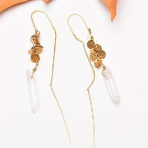 Quartz Crystal Threader Earrings Dangle Stone